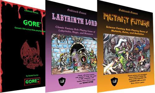 Gobinoid Games: G.O.R.E., Labyrinth Lord y Mutant Future