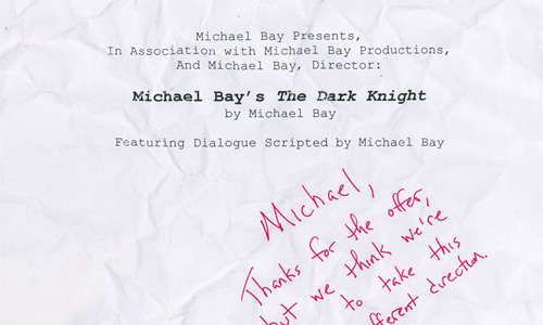 El Guion de El Caballero Oscuro por Michael Bay