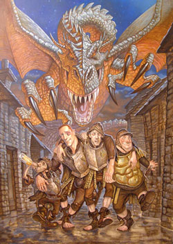 De izquierda a derecha, de abajo a arriba: Nobby, Zanahoria, Vimes, Colon y el dragon