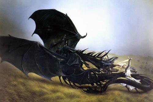 Eowyn lucha contra el Rey Brujo de Angmar