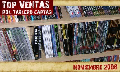 Top ventas rol tablero y cartas noviembre2008