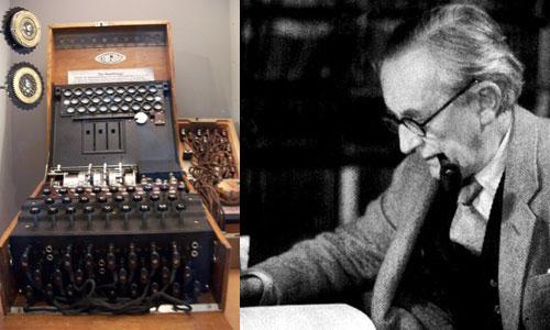 Tolkien junto a una máquina Enigma