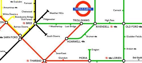 El Señor de los Anillos camiseta metro Lord of the Rings tube map t-shirt