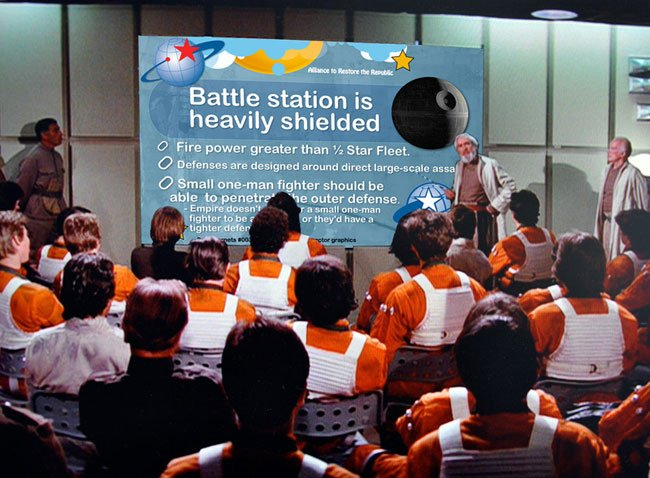 Star Wars: Briefing previo a la batalla de la Estrella de la Muerte, pero en Power Point