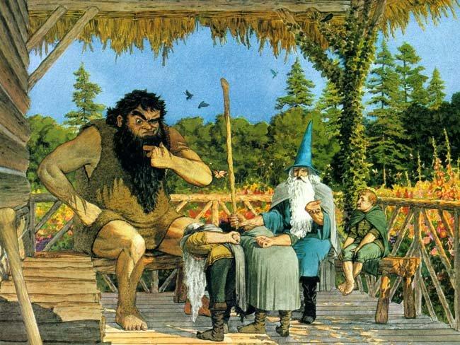 Un amigo o tres, Bilbo y los enanos son presentados a Beorn por Gandalf