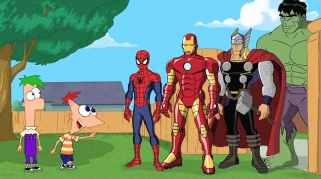 Ferb, Phineas, Spiderman, Iron Man, Thor y Hulk
