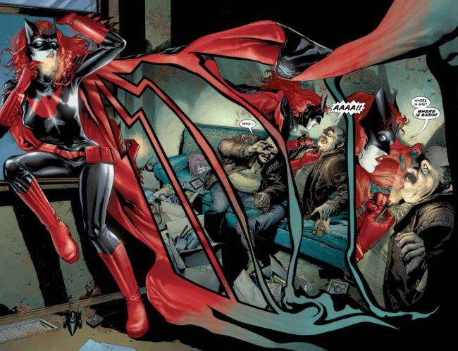 Doble página interior de Batwoman.