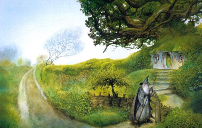 Gandalf llegando a Bolsón Cerrado, por John Howe